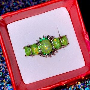 Sterling and green opal